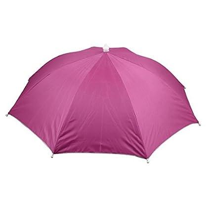 eDealMax Pesca deportes al aire Libre Campo Cinta elástica Doblado paraguas Sombrero Rosado