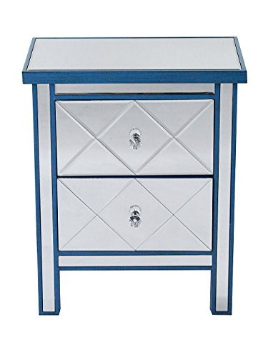 Heather Ann Creations Modern Beveled Mirrored Finished 2 Drawer Accent Chest Nightstand, 20″ x 13″ x 26″, Blue
