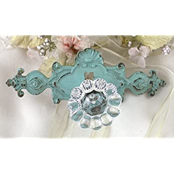 Blue Victorian Drawer Pull Knob Wall Acrylic Button Handle Vintage Distress