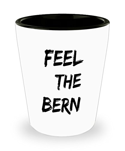 Feel The Bern 1.5oz Shot Glass - Funny Bernie Sanders Anti Trump Democrat Gift White & Black Ceramic Shooter.