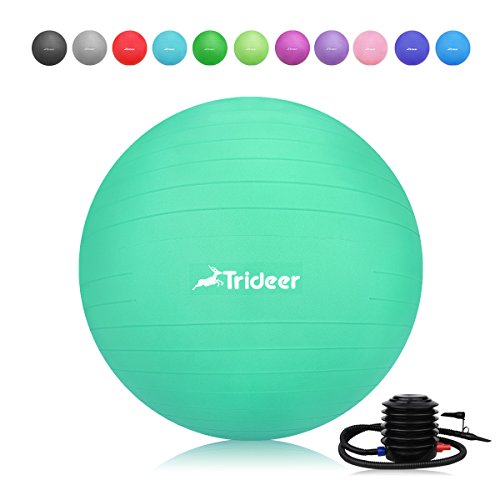 Trideer Exercise Ball, Yoga Ball, Birthing Ball with Quick Pump, Anti-Burst & Extra Thick, Heavy Duty Ball Chair 45cm 55cm 65cm 75cm Stability Ball Supports 2200lbs (Office&Home) (Mint Green, 55cm)