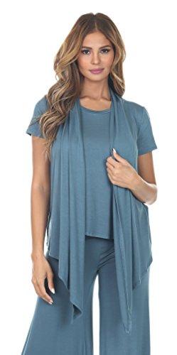 Angel Cola Womens Short Sleeve Draped Cardigan B7021 Blue Goblin (Silk Front Pocket Tunic)