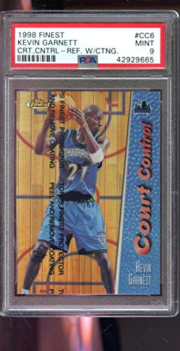 (1998-99 Topps Finest Court Control REFRACTOR #CC6 Kevin Garnett 72/150 Insert MINT PSA 9 Graded NBA Basketball Card)
