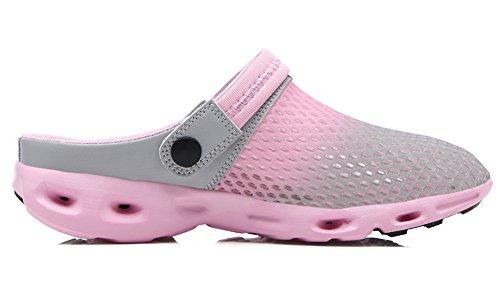 Ausom Mens Femmes Mesh Respirant Été Chaussures Plage Aqua Eau Sandales En Plein Air Pantoufles Occasionnels Gris Rose