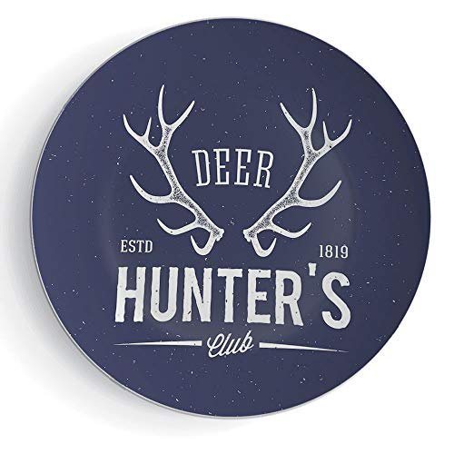 "iPrint 6"" Ceramic Decorative Plates Hunting Decor Ceramic Decorative Plates Deer Hunters Club Logo Design with Antlers Retro Typography Shabby Icon"