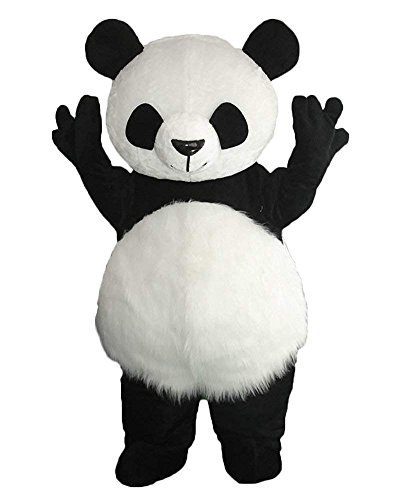 MatGui Long Plush Panda Mascot Costume Adult Size Cartoon Halloween Party Dress Suit -