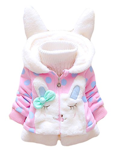 Tkria Baby Mädchen Mäntel -Jacken ,Winter Kinder Kapuzenjacke für Kaninchen Fleecefutter mit Bowknot Mantel für Kinder 0-6 M/80
