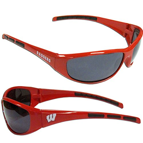 Purchadise NCAA 3-Dot Wrap Sunglasses-UVA and UVB Protection-Many Teams! (Wisconsin Badgers)