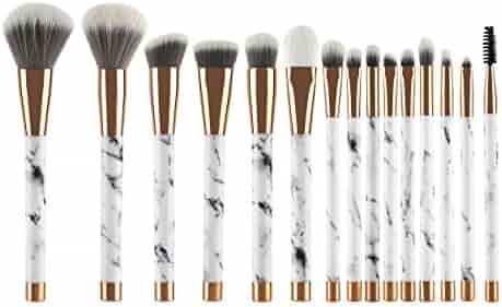 UNIMEIX Makeup Brushes 15 Pieces Makeup Brush Set Premium Face Eyeliner Blush Contour Foundation Cosmetic Brushes for Powder Liquid Cream