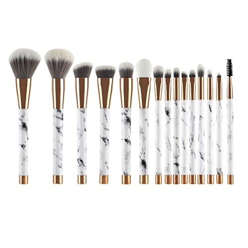 UNIMEIX Makeup Brushes 15 Pieces Makeup Brush Set Premium Face Eyeliner Blush Contour Foundation Cosmetic Brushes for Powder Liquid Cream