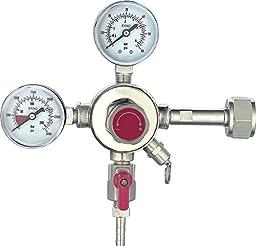 HFS (TM) Commercial CO2 Regulator - Beer Brewing Kegerator Dual Gauge Shutoff Valve 5/16\