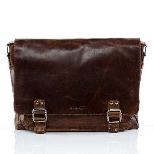 STOKED large messenger bag NATHAN - Shoulder bag fits 15'', iPad - notebook-bag brown leather by STOKED