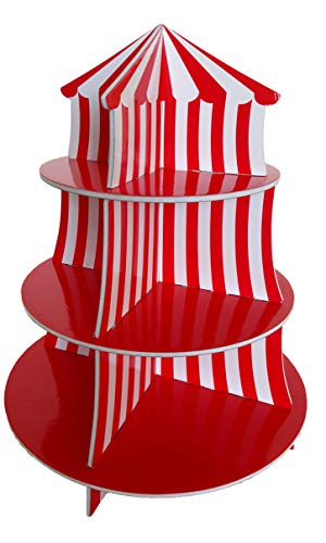 Big Top Circus Carnival 3 Tier Cupcake Holder Centerpiece Birthday Decorations - By Playscene (1 -