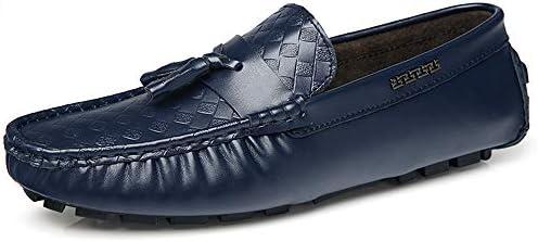 You Are Fashion ファッションカジュアル男性ローファー高品質金属装飾アップリケ本物の革の靴男フラットシューズソフトライトタッセルプリントボートモカシン (Color : 青, サイズ : 25.5 CM)