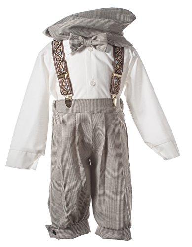 Boys Tan Plaid Knickers with Paisley Suspenders in Baby Toddler & Boys Sizes (12 Month) -