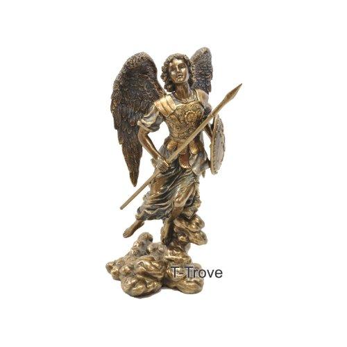 St Raphael Archangel Statue: ARCHANGEL SAINT RAPHAEL SCULPTURE Real Bronze Powder Cast