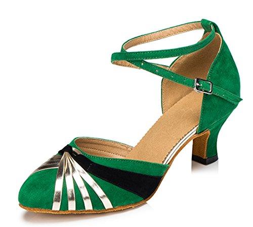 Tda Donna Classico Tacco Basso In Pelle Scamosciata Salsa Tango Ballroom Latino Moderno Scarpe Da Ballo Di Danza 5cm Tacco Verde