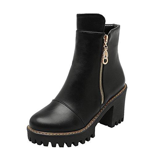 Latasa Womens Block High Heels Fall Short Boots Casual Nero