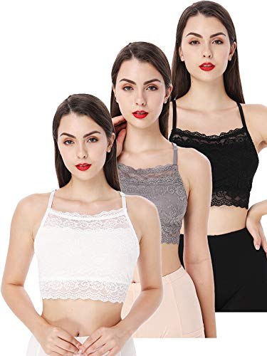 3 Pieces Lace Bralette Hi-Neck Bralette Top Lace Half Camisole Bandeau Cami Bra for Women and Girls (Color Set 1, L Size)