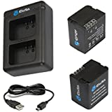 EforTek Replacement Battery (2-Pack) and Dual USB Charger kit for Garmin 361-00080-00 and Garmin Virb X and Virb XE