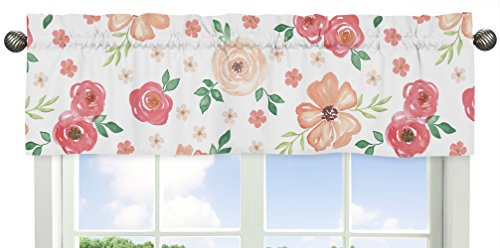 Sweet Jojo Designs Peach and Green Window Treatment Valance for Watercolor Floral Collection - Pink Rose Flower ()