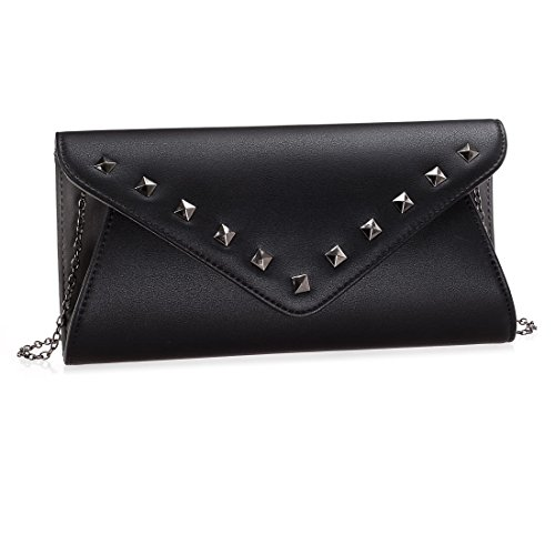 BMC Womens Jet Black Faux Leather 2 Tone Stud Rivet Accent Envelope Flap Fashion Clutch Handbag