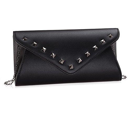 BMC Womens Jet Black Faux Leather 2 Tone Stud Rivet Accent Envelope Flap Fashion Clutch (Studded Wristlet Clutch)