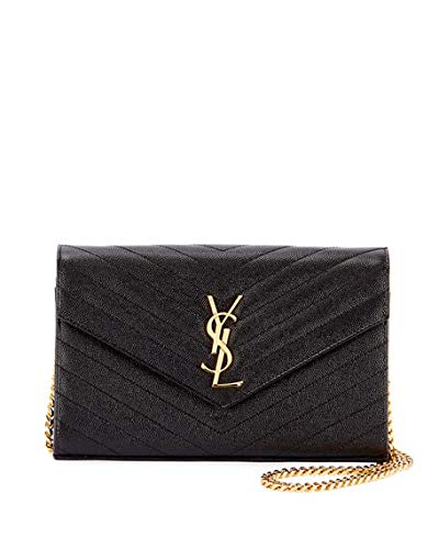 3641042492d7 Saint Laurent Matelasse Monogram YSL Wallet on Chain Made in Italy (Black)