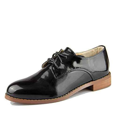 Women's Oxford Patent Faux Leather Dress Shoes (U8.5(39=245MM), Black)