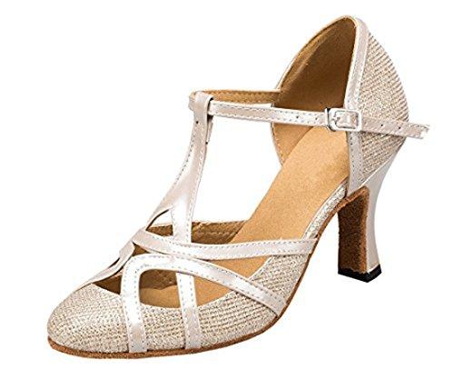 TDA Womens Mid Heel Champagne PU Leather Salsa Tango Ballroom Latin Party Dance Shoes CM101 8.5 M