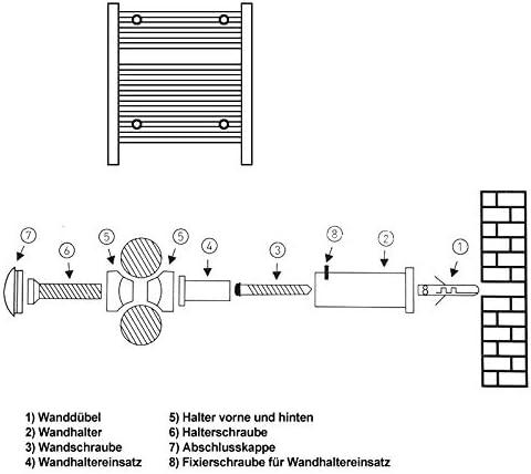support pour radiateurs s/èche-serviettes mat/ériel de montage chrome ECD Germany Kit de fixation pour radiateurs de salle de bain pour mod/èles droits et courbes
