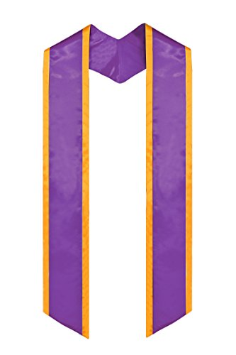 GraduationMall Plain Graduation Honor Stole Angled End Purple With Gold Trim Unisex Adult 72