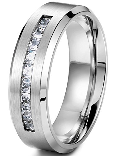 Jstyle Jewelry 8MM Titanium Rings for Men Wedding Engagement Rings Promise Size 11