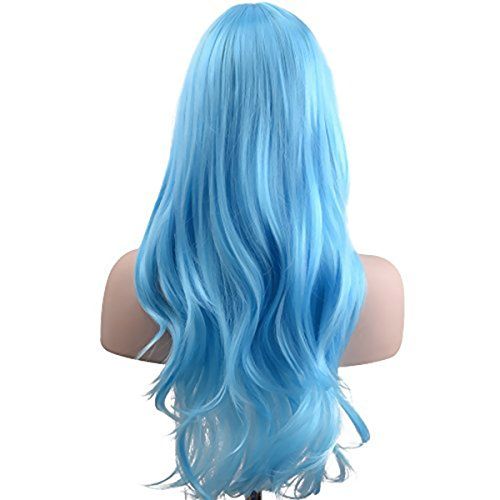 AKStore Women's Heat Resistant 28-Inch 70cm Long Curly Hair Wig with Wig Cap, Light Blue