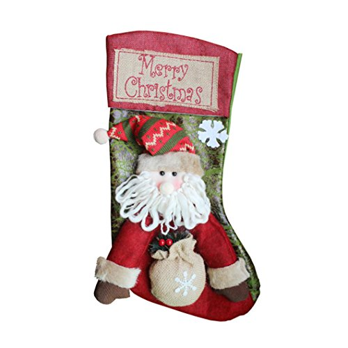 Hot Sale! Napoo Christmas Snowman Stockings Sack Sock Gift Filler Decoration Decor Gift (B) (Sack Snowman)