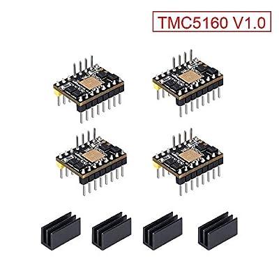 KINGPRINT TMC5160 v1.0 Stepper Motor StepStick Mute Silent Driver Support SPI with Heatsink for 3D Printer Control Board (4 Pieces)