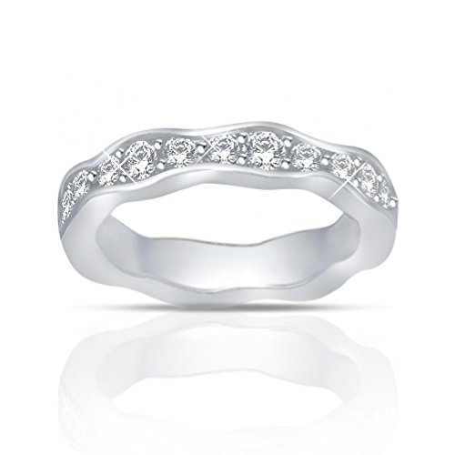 1.25 ct Round Cut Diamond Eternity Wedding Band Ring New Style in 18 kt White Gold In Size 6 by Madina Jewelry