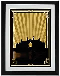 Atlantis - Sepia With Gold Border No Text F01-m (a2) - Framed