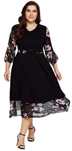 TINHAO Women's Plus Size Vintage Elegant Floral Print 3/4 Flounce Sleeves Maxi Dress (Plus Size Dresses Flare)