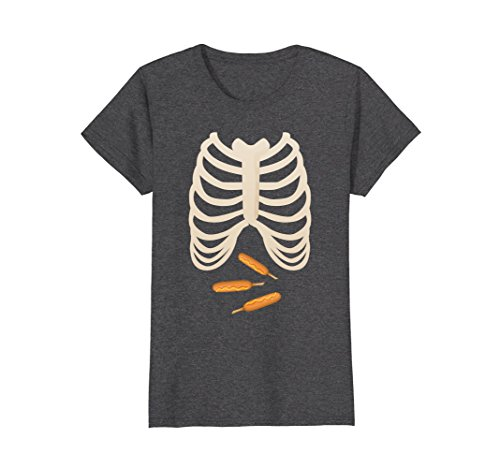 Womens Corn dogs Fan Lovers Tshirt Halloween Skeleton Rib Cage Xray Medium Dark Heather -