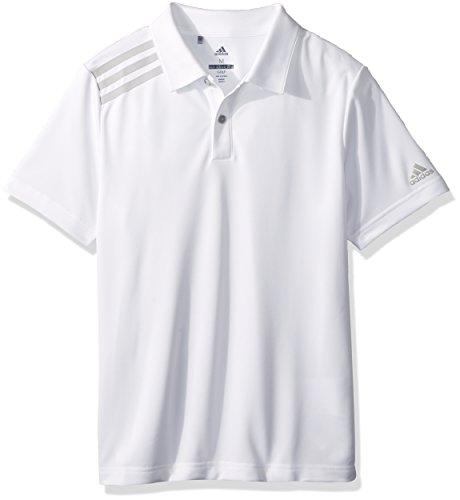 adidas Golf 3-Stripe Tournament Polo, White, Large