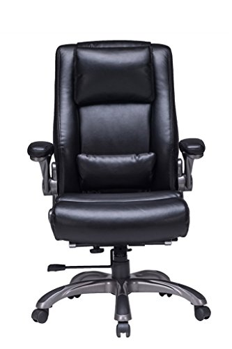 VIVA OFFICE High Back Bonded Leather Executive Chair with Extra Thick Padded Headrest, Lumbar Pad and Flip-Up Arms