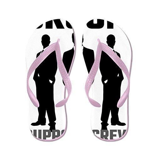 CafePress Groom Support Crew - Flip Flops, Funny Thong Sandals, Beach Sandals Pink