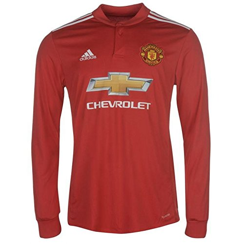 adidas Manchester United FC Official 2017/18 Long Sleeve Home Jersey - Adult - Red/White/Black - Small