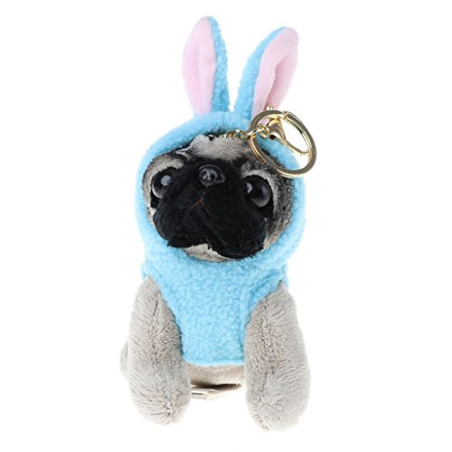 Jesse Pugger Dog in Raincoat Pug Plush Toy, 3.152.754.72inch / 8712cm, Mini Cute Soft Animal Doll Plush Keychain Gift for Kids Girls Boys (Blue rabbit)