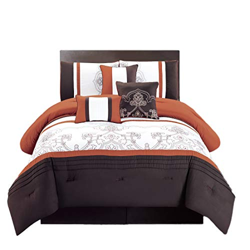 WPM 7 Pieces Complete Bedding Ensemble Brown Rust print Luxury Embroidery Comforter Set Bed-in-a-bag Bedding-Linda (King)