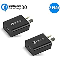 Australia 18W Quick Charge 3.0,Wong Qualcomm Certified Quick Charge 3.0 USB Wall Charger Portable Adapter(Quick Charge 2.0 Compatible) for iPhone, iPad, Samsung Galaxy/Note and More (2Pcs Black)