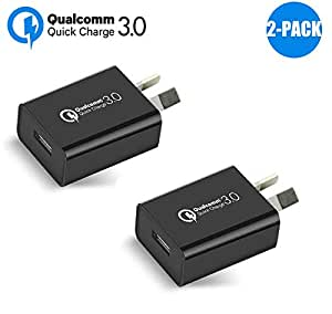 Australia 18W Quick Charge 3.0 Wall Charger,Wong Qualcomm Quick Charge 3.0 USB Wall Charger Portable Adapter(Quick Charge 2.0 Compatible) for iPhone, iPad, Samsung Galaxy/Note and More (2Pcs Black)