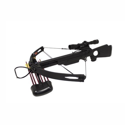 Image of Spider 150 lb Compound Crossbow 4x32 Scope + Extra Arrows + Quiver + Rope Cocking Device + Broadheads Package