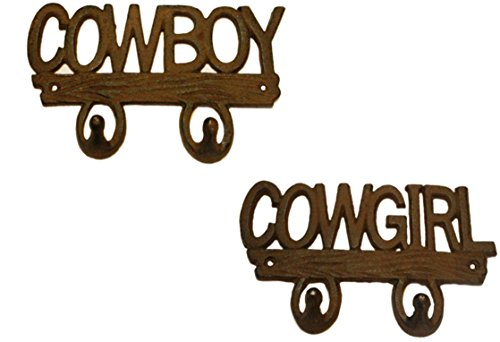 Double Horseshoe Hook (Rustic Set of COWBOY & COWGIRL Cast Iron Decorative Double Wall Hooks (2))